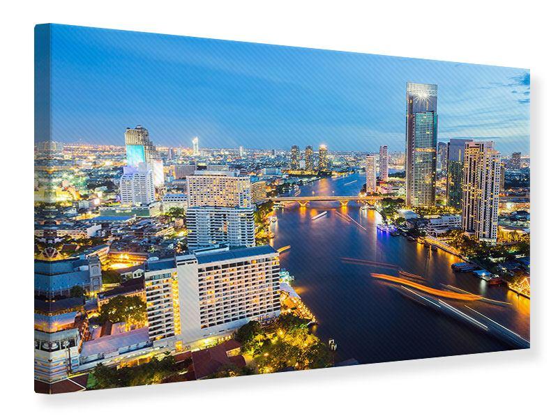 Leinwandbild Skyline Bangkok bei Sonnenuntergang