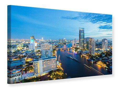 Leinwandbild Skyline Bangkok in der Abenddämmerung