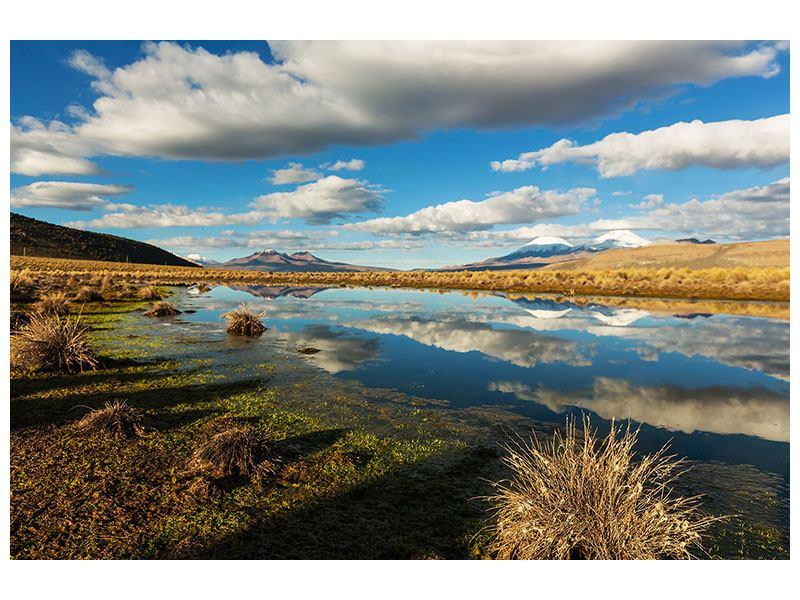 Leinwandbild Wasserspiegelung am See