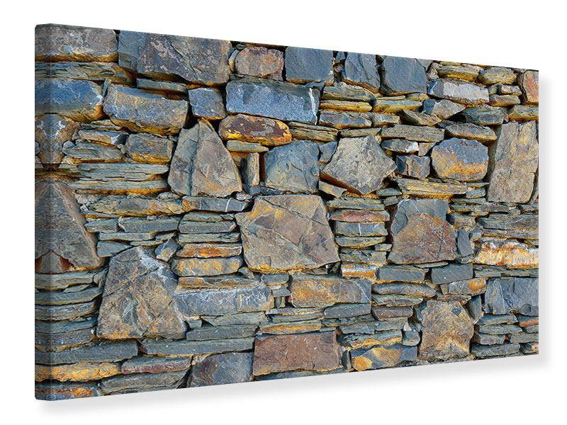 Leinwandbild Natürliche Steinmauer