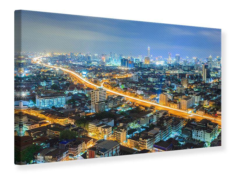 Leinwandbild Skyline Bangkok im Fieber der Nacht