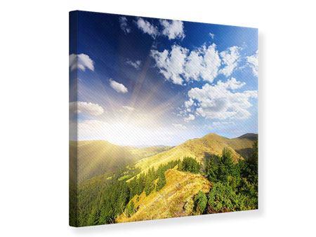 Leinwandbild Sonnenaufgang im Gebirge