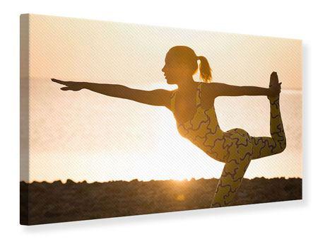 Leinwandbild Yoga bei Sonnenuntergang