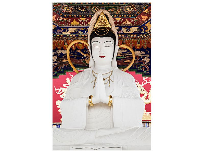 Leinwandbild Meditierende Buddha-Statur