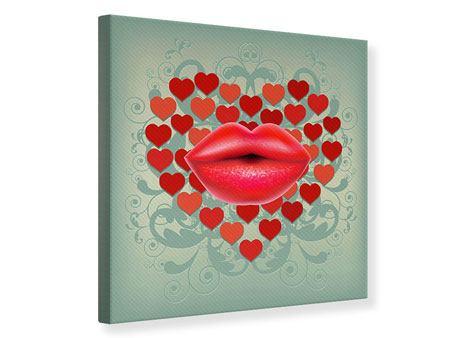 Leinwandbild Rote Lippen soll man küssen