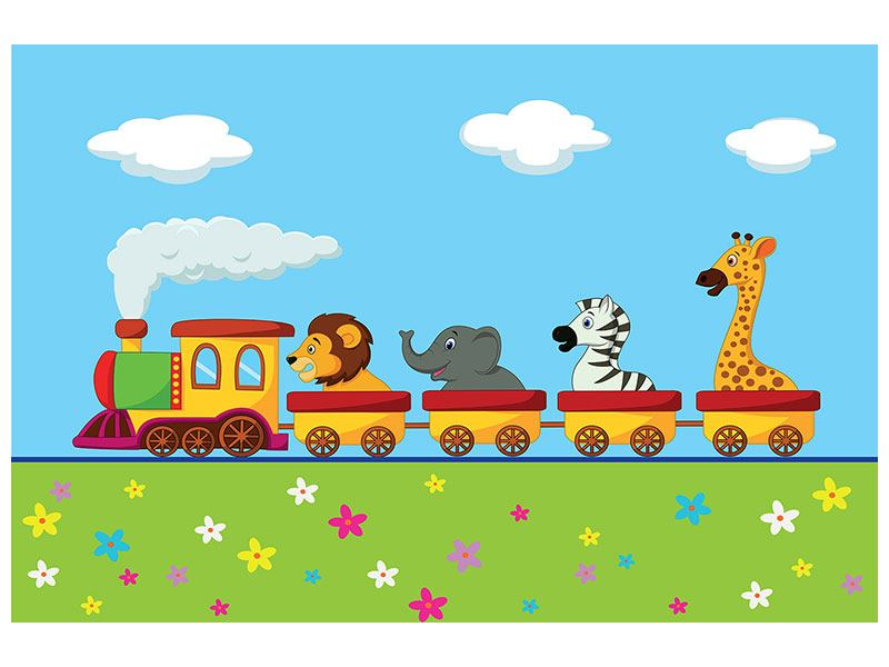 Leinwandbild Tierische Eisenbahn