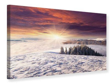 Leinwandbild Sonnenaufgang Winterlandschaft