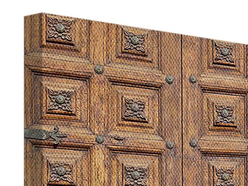 Leinwandbild Antike Holztür