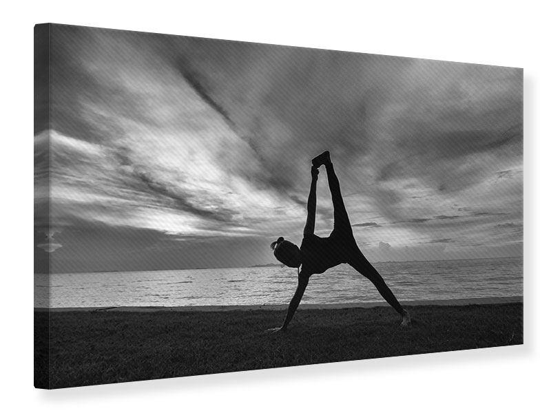 Leinwandbild Yoga am Strand