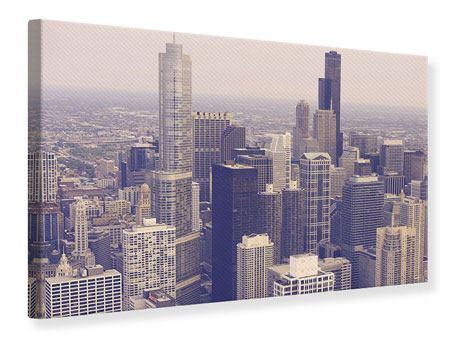 Leinwandbild Skyline Chicago in Sepia