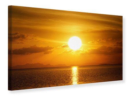 Leinwandbild Sonnenuntergang See