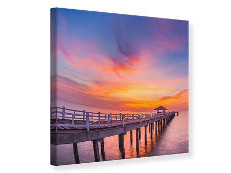 Leinwandbild Die romantische Brücke bei Sonnenuntergang
