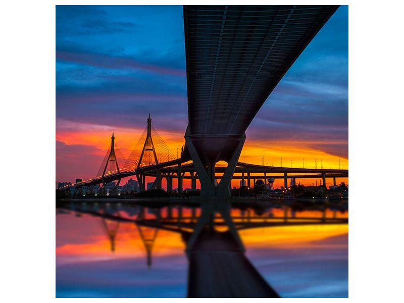 Leinwandbild Bhumiboll-Brücke bei Sonnenuntergang