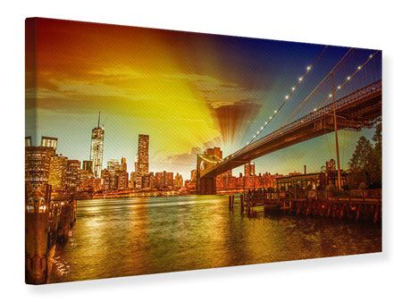 Leinwandbild Skyline Brooklyn Bridge NY