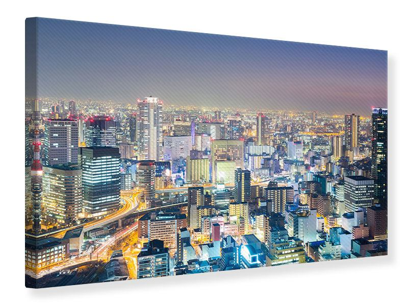 Leinwandbild Skyline Osaka bei Sonnenuntergang