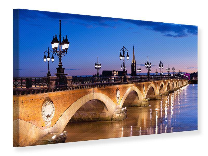 Leinwandbild Pont De Pierre bei Sonnenuntergang