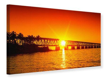 Leinwandbild Sonnenuntergang an der Brücke