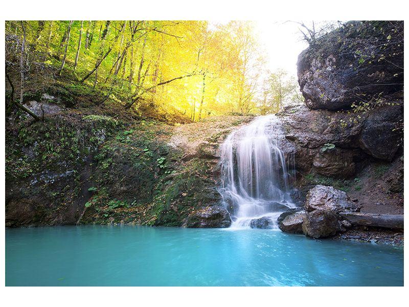 Leinwandbild Fliessender Wasserfall