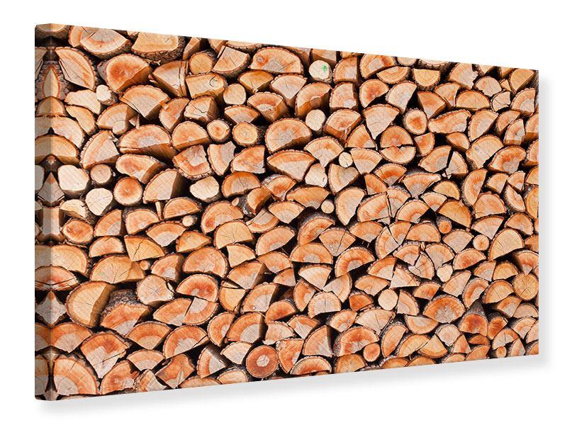 Leinwandbild Birkenstapel