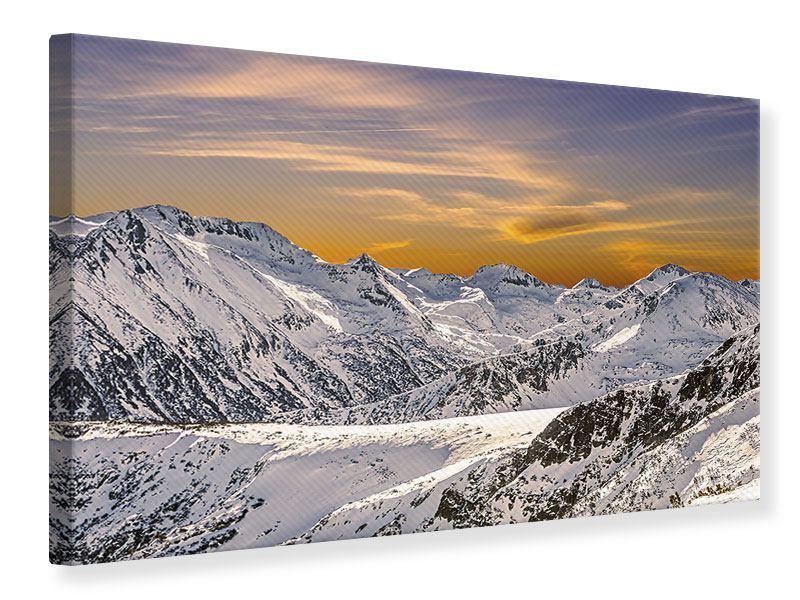Leinwandbild Sonnenuntergang in den Bergen