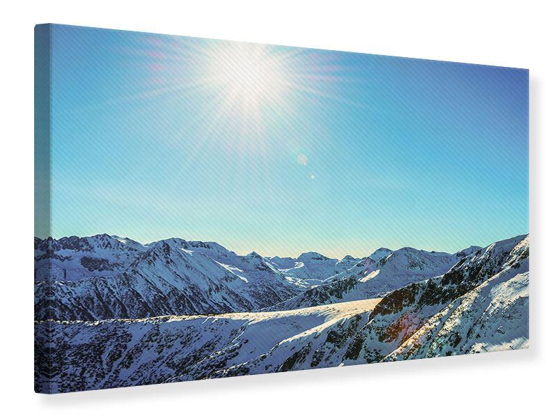 Leinwandbild Sonnige Berggipfel im Schnee
