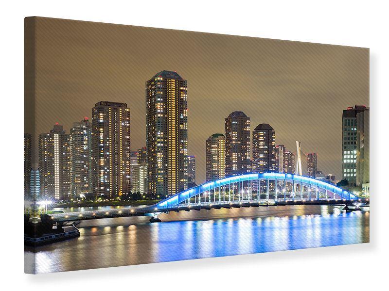 Leinwandbild Skyline Tokio in der Nacht