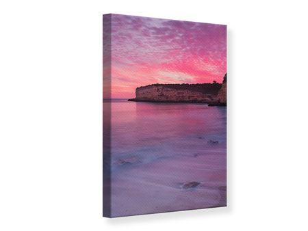 Leinwandbild Feuriger Sonnenuntergang am Meer