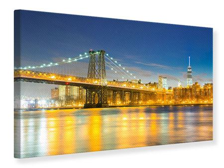 Leinwandbild Brooklyn Bridge bei Nacht