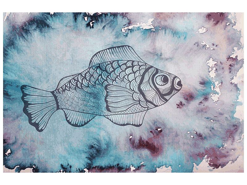 Leinwandbild Fisch-Aquarell