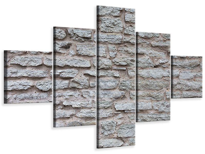 Leinwandbild 5-teilig Steinmauer
