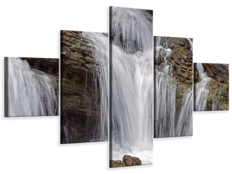 Leinwandbild 5-teilig Wasserfall XXL