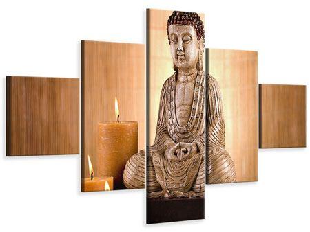 Leinwandbild 5-teilig Buddha in der Meditation