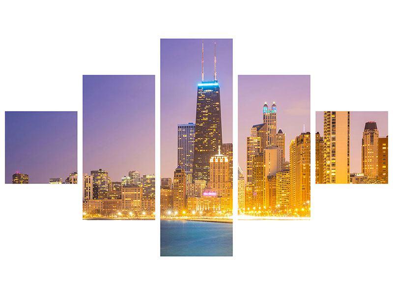 Leinwandbild 5-teilig Skyline Chicago in der Nacht