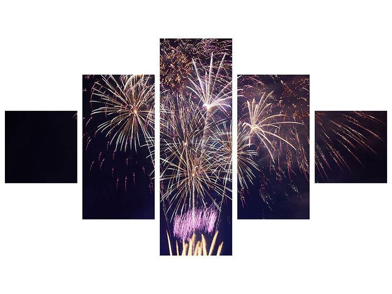 Leinwandbild 5-teilig Feuerwerk