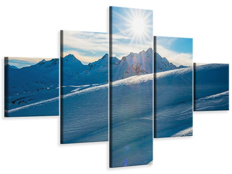 Leinwandbild 5-teilig Ein Wintermärchen in den Bergen