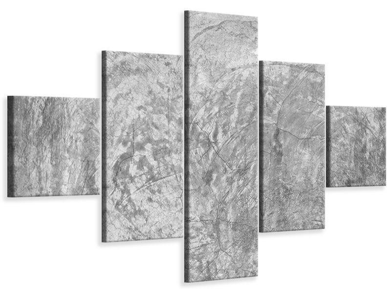 Leinwandbild 5-teilig Wischtechnik in Grau