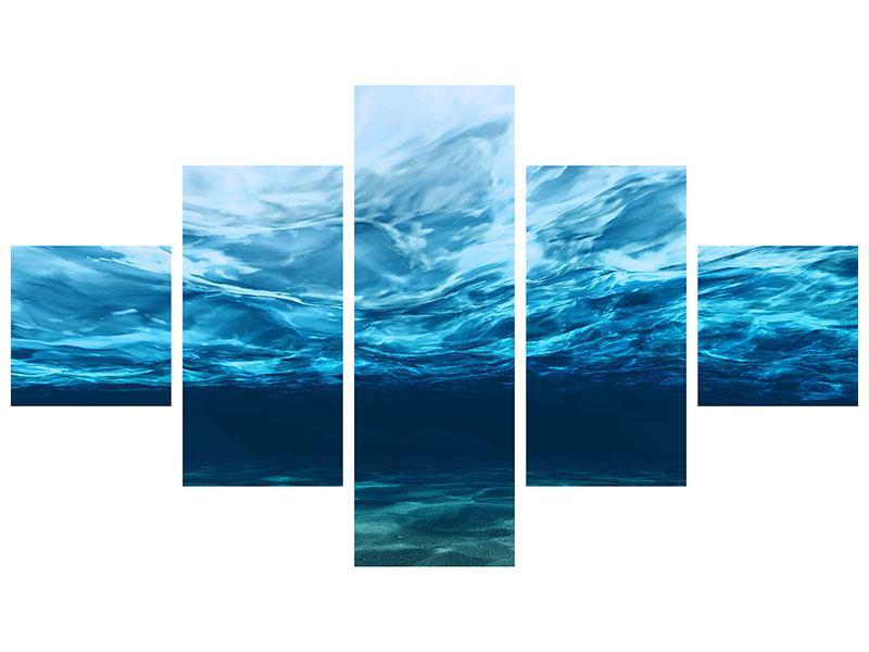 Leinwandbild 5-teilig Lichtspiegelungen unter Wasser