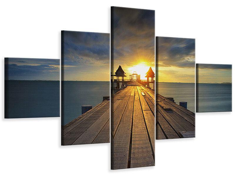Leinwandbild 5-teilig Der Sonnenuntergang bei der Holzbrücke