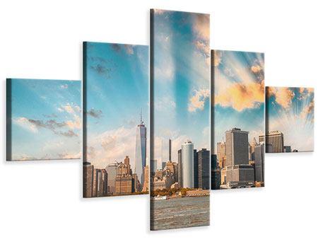 Leinwandbild 5-teilig Skyline New York from the other Side