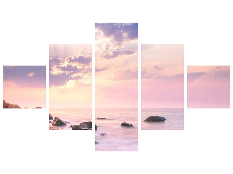 Leinwandbild 5-teilig Sonnenaufgang am Meer