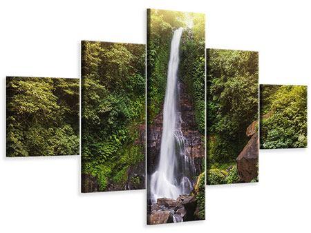 Leinwandbild 5-teilig Wasserfall Bali