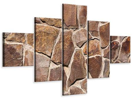 Leinwandbild 5-teilig Designmauer