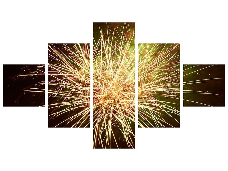 Leinwandbild 5-teilig Feuerwerk XXL