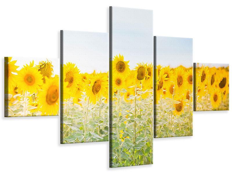 Leinwandbild 5-teilig Im Sonnenblumenfeld