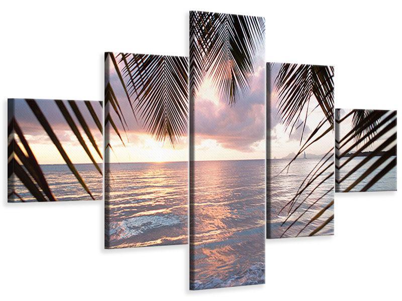 Leinwandbild 5-teilig Unter Palmenblätter