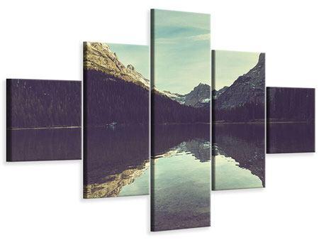 Leinwandbild 5-teilig Spiegelung im Bergsee