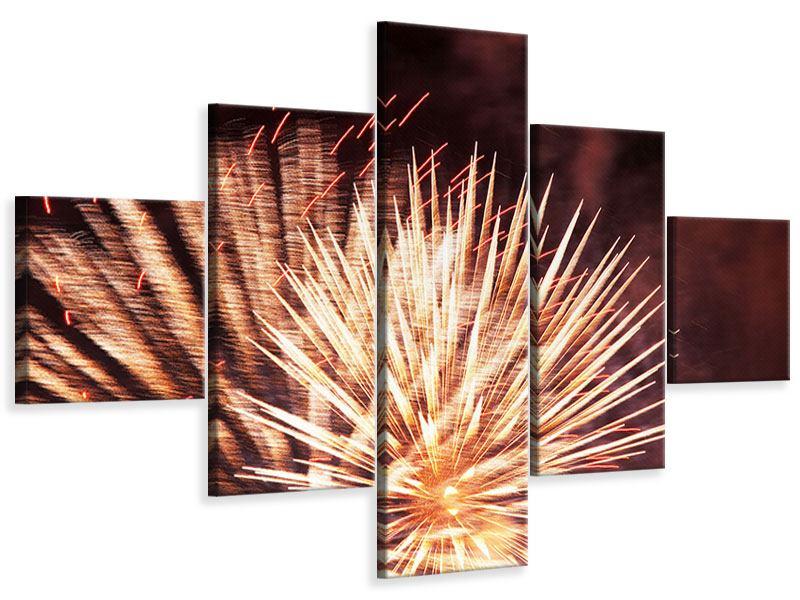 Leinwandbild 5-teilig Close Up Feuerwerk