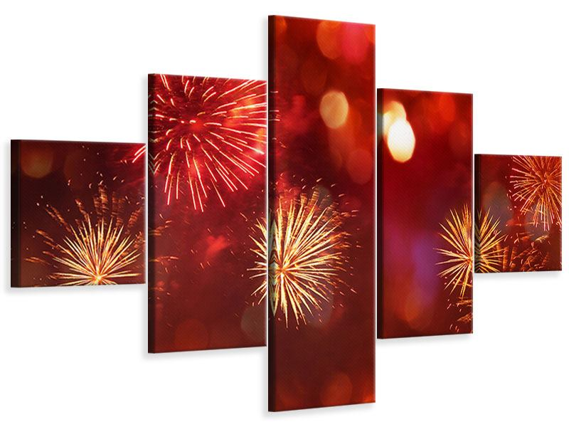 Leinwandbild 5-teilig Buntes Feuerwerk