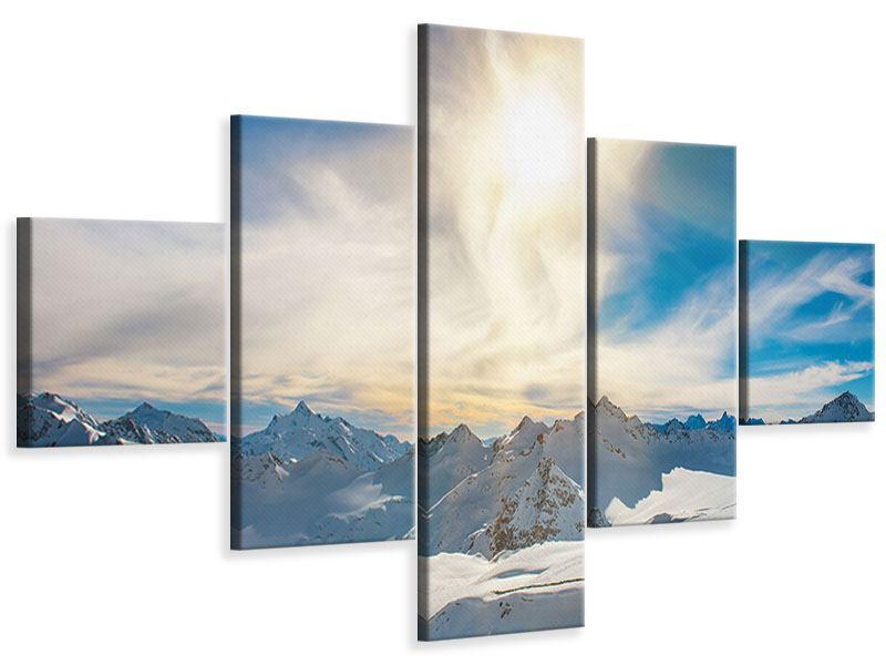 Leinwandbild 5-teilig Über den verschneiten Gipfeln