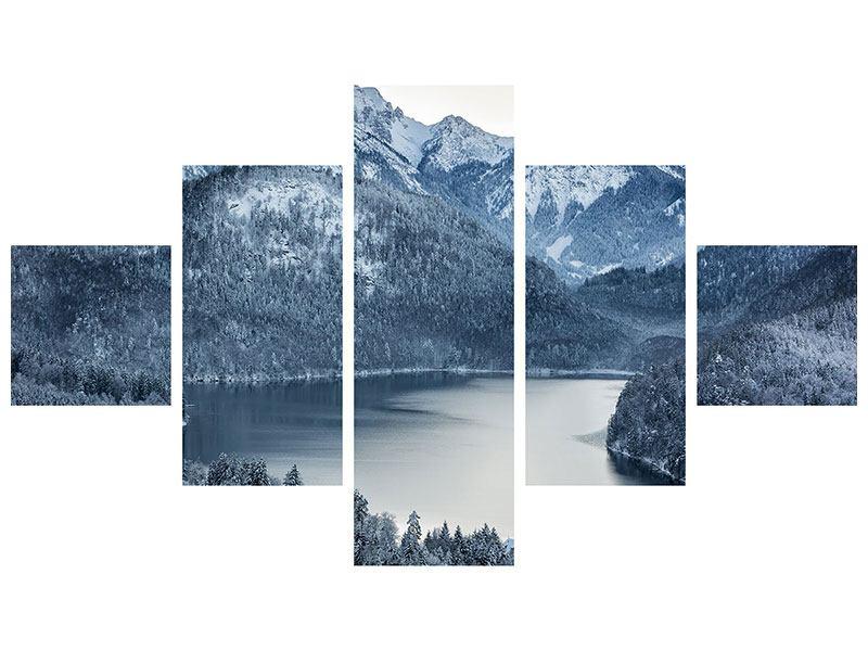 Leinwandbild 5-teilig Schwarzweissfotografie Berge